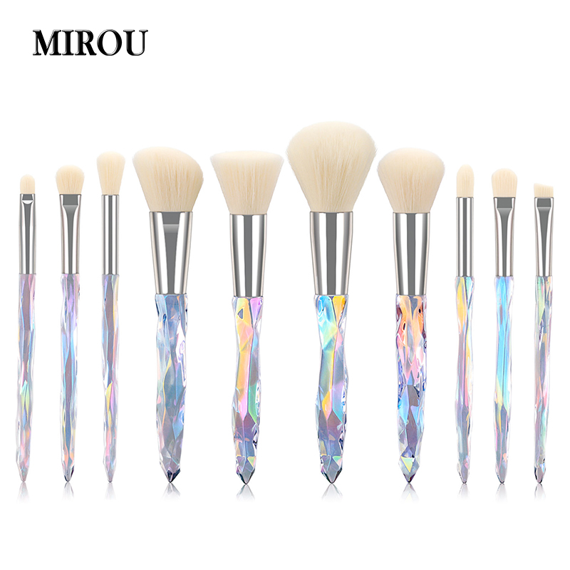 10pcs Yellow Crystal Style Eye Brush Cosmetics Professional Makeup Brush Kit Tools Bright Shadows Fluffy Brush