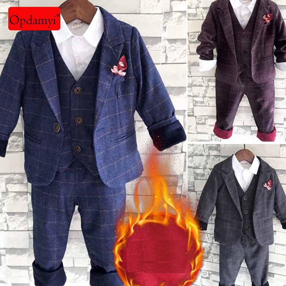3Pcs Kids Boys Suit Set Toddler Formal Tuxedo Suits Wedding Party Dresses 2-7