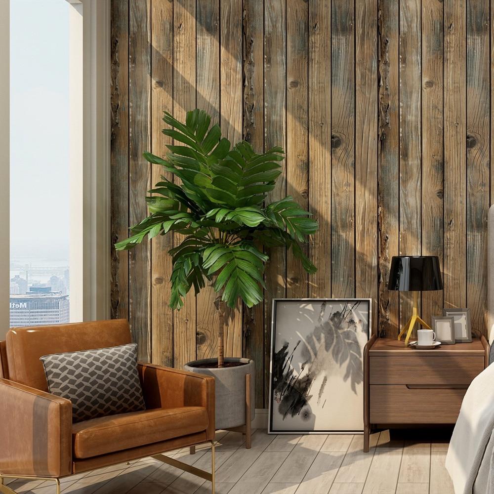 Papel tapiz Retro de imitación de grano de madera y Palo, papel tapiz de tablón de madera autoadhesivo, rollo de revestimiento de paredes de vinilo extraíble para restaurante