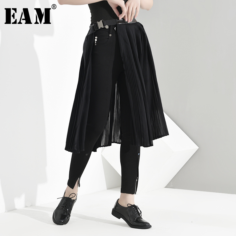 [EAM] High Elastic Waist Black Buckle Pleated Split Temperament Half-body Skirt Women Fashion Tide New Spring Autumn 2020 JD1050