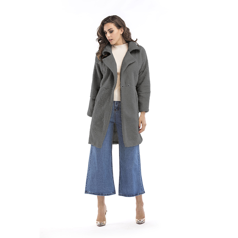 2019 autumn and winter new women's cotton jacket cashmere long-sleeved solid color long coat wool coat 16