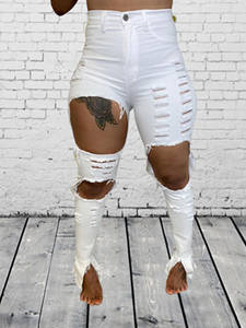 Echoine Club Outfits Ripped Jeans Flare Denim-Pants Women Trousers Bodycon-Hole White