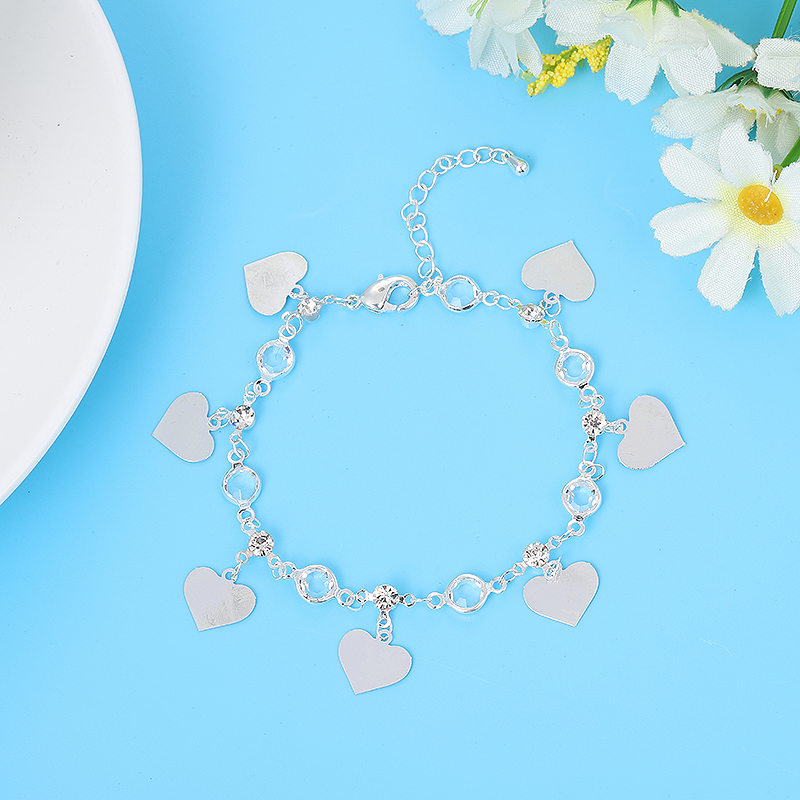 European and American fashion temperament crystal love ladies beach anklet exquisite popular adjustable length foot jewelry