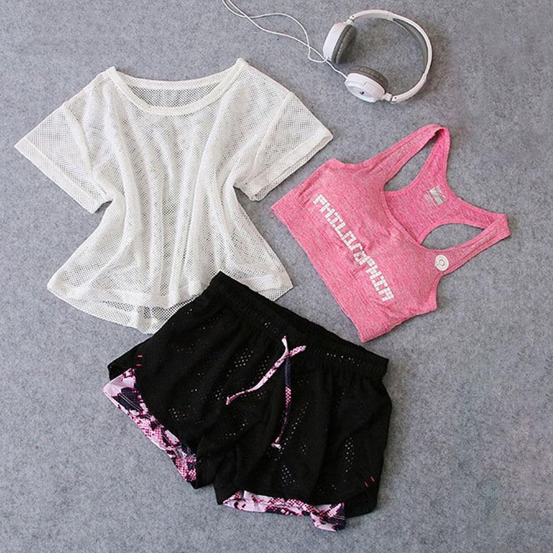 Sportswear 3 Piece Yoga Set Women Gym Cloth Sport Suit Shirt Top+Bra+Shorts Female Workout Athletic Running Fitness Clothing