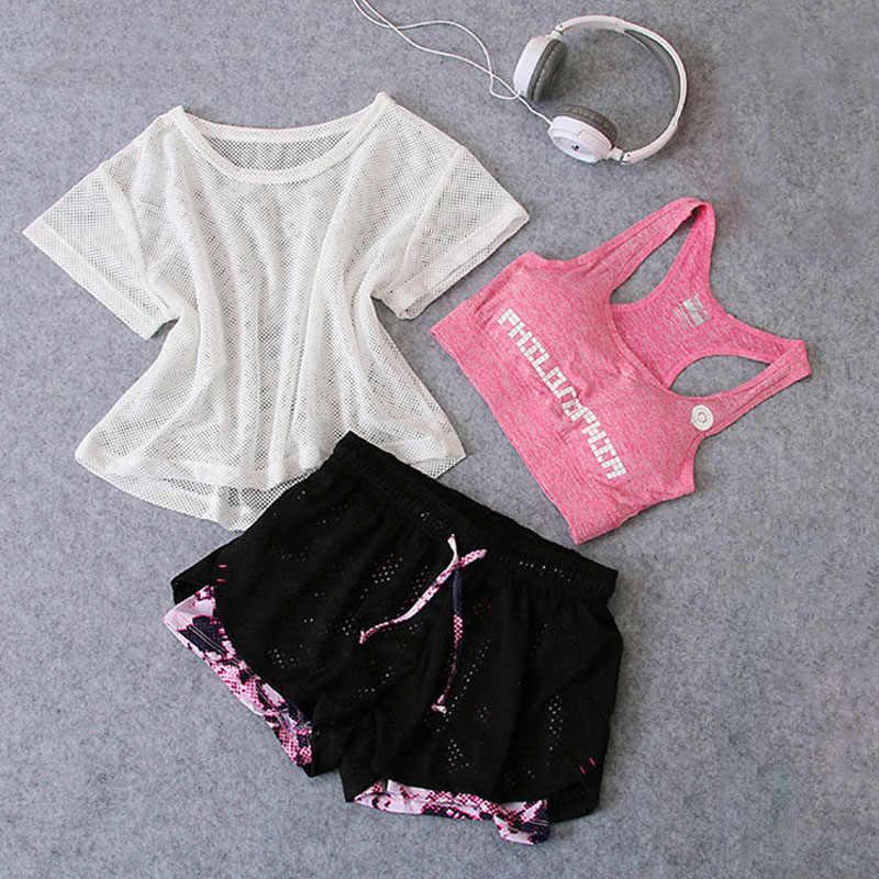 Vêtements de Sport 3 pièces Yoga ensemble femmes gymnase tissu Sport costume petit haut + soutien-gorge + Shorts femme entraînement athlétique course Fitness vêtements