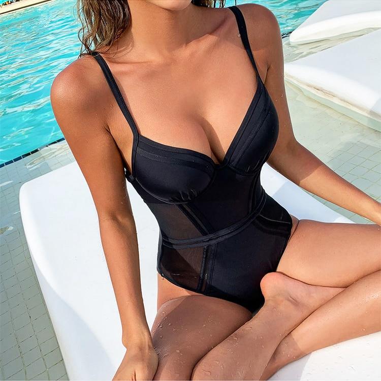 Sexy Black Mesh Push Up One Piece Swimsuit Ladies 2020 Monokini Backless Cut Out Swimwear Women Swim Bathing Suit Trikini 1