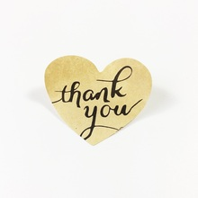 100pcs/lot Handwritten style'Thank You' Heart-shaped Sealing Sticker Kraft Paper Sticker For  Gift Decoration Label Stickers 90pcs pack for you candy color sealing sticker stationery gift bakery stickers cookies label supply