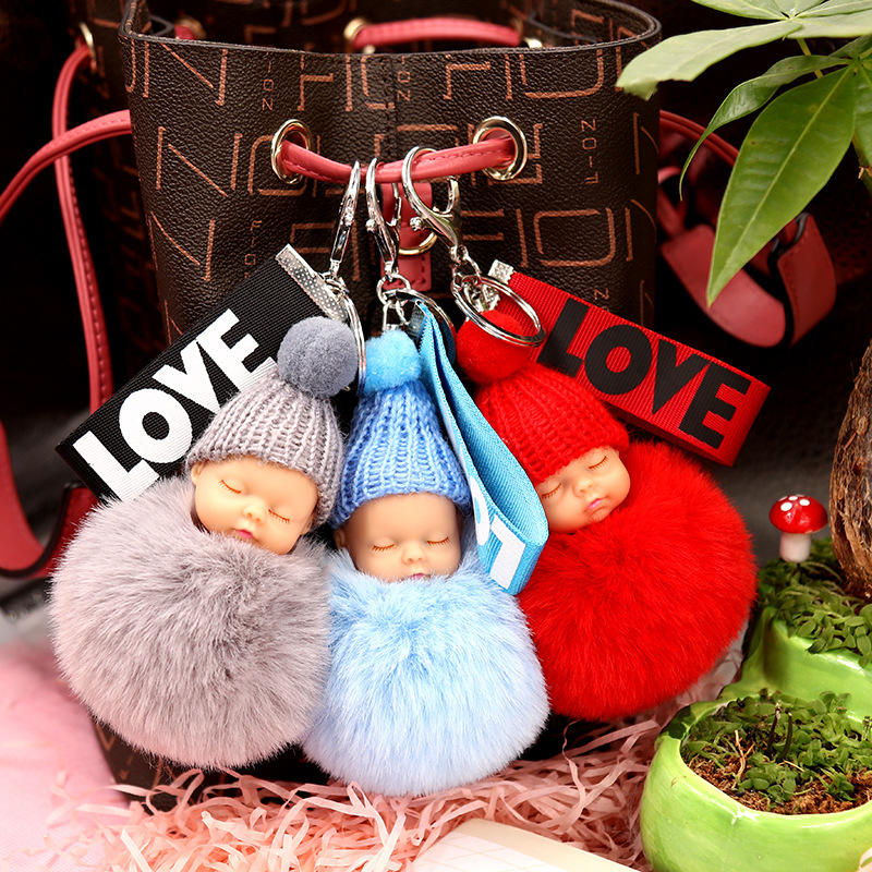 Sleeping Baby Doll Keychain Flower Pompom Rabbit Fur Ball Key Chain Fluffy Car Keyring Porte Clef Bag Key Ring
