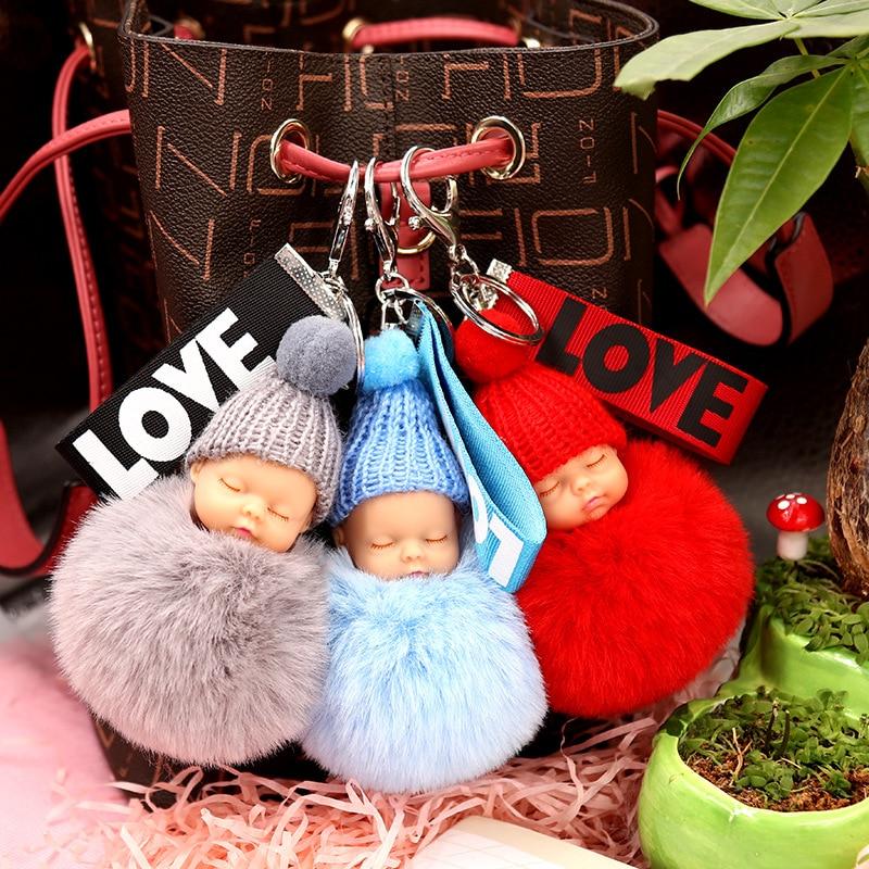 Sleeping Baby Doll Keychain Flower Pompom Rabbit Fur Ball Key Chain Fluffy Car Keyring Porte Clef Bag Key Ring