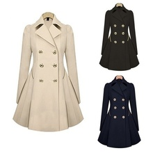Trench-Coat Autumn Double-Breasted Plus-Size Long Women Ladies Windbreaker New Warm Causal