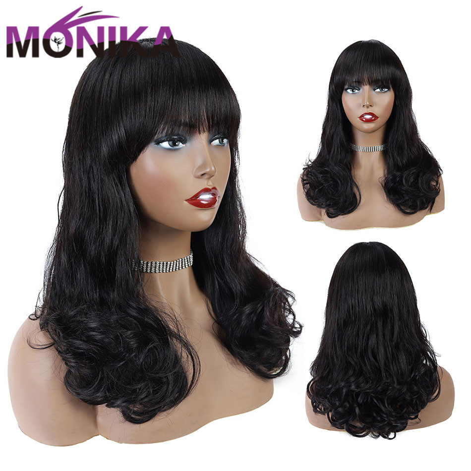 Monika Brazilian Full Machine Pixie Wig Human Hair Wigs With Bangs Pre Plucked Baby Hair Glueless Remy Loose Wave Wig For Women