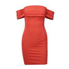 2019 New Dress Women Shoulder Slash Nek Party Dresses Streetwear Summer Skinny Short Sleeve Style Orange Elegant nek bologna page 2