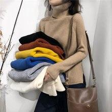 Женский свитер с высоким воротом aossviao вязаный свободный