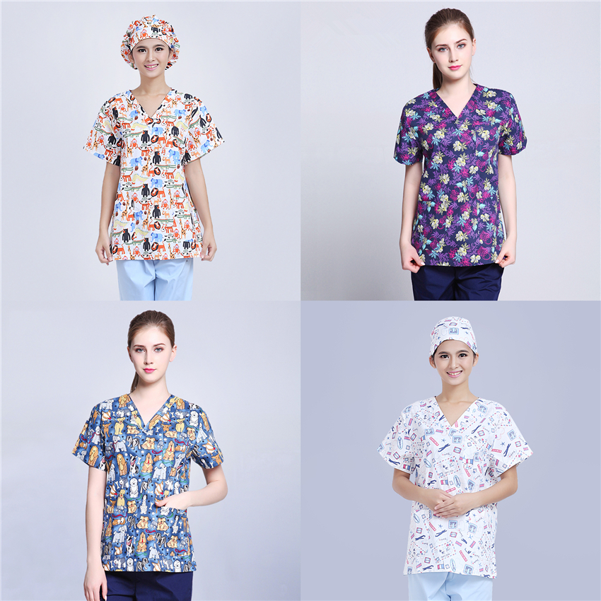 Scrubs Medical Uniforms Women Nurse Scrub Tops Doctor Work Clothes 100$%Cotton Print Hospital Clinical Surgery Uniform