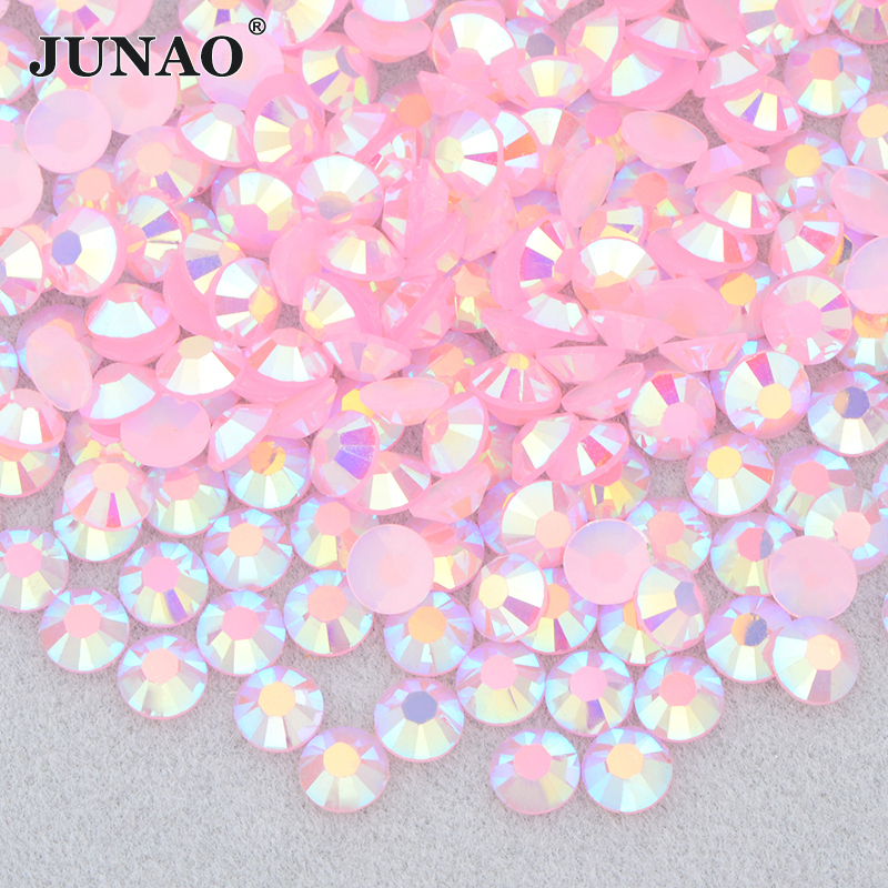 JUNAO 4 5 6mm Gelee Rosa AB Flatback Runde Strass Glittler Harz Strass Steinen Aufkleber Nail art Dekoration Kleber auf Kristall