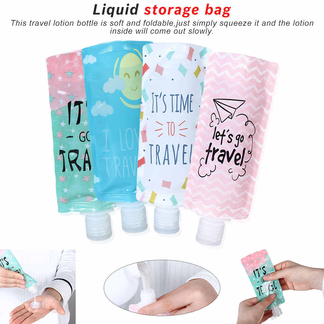 1pcs Travel Liquid soap bottle Cosmetic filling bag portable Packing bag Shampoo/Makeup fluid sub bottle