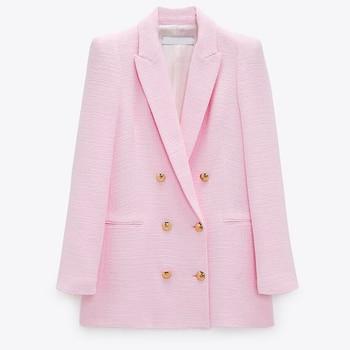 ZAAHONEW 2021 Spring Autumn Women Fashion Vintage Pink Tweed Blazer Coat Chic Pockets Suit Jacket Female Office Outerwear
