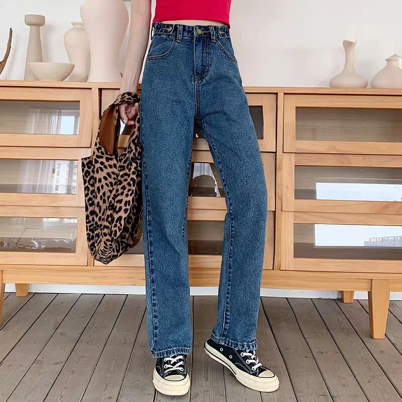 Fa9011 2019 New Autumn Winter Women Fashion Casual  Denim Pants High Waist Jeans Korean Fashion