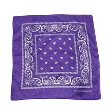 New Hot Purple bandana scarf with square black white paisley pattern on both sides (Purple) square scarf with paisley print