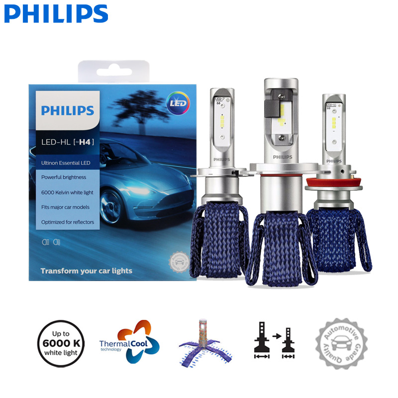 Philips Fog-Lamps Auto-Headlight HB4 Essential H16 6000K 9003 HB3 H11 9006 H7 9005 H8