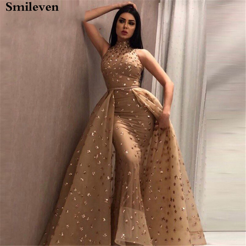 Smileven Gold Mermaid Formal Evening Dress High Neck Sequin Lace Prom Party Gown robe de soiree With Detachable Train