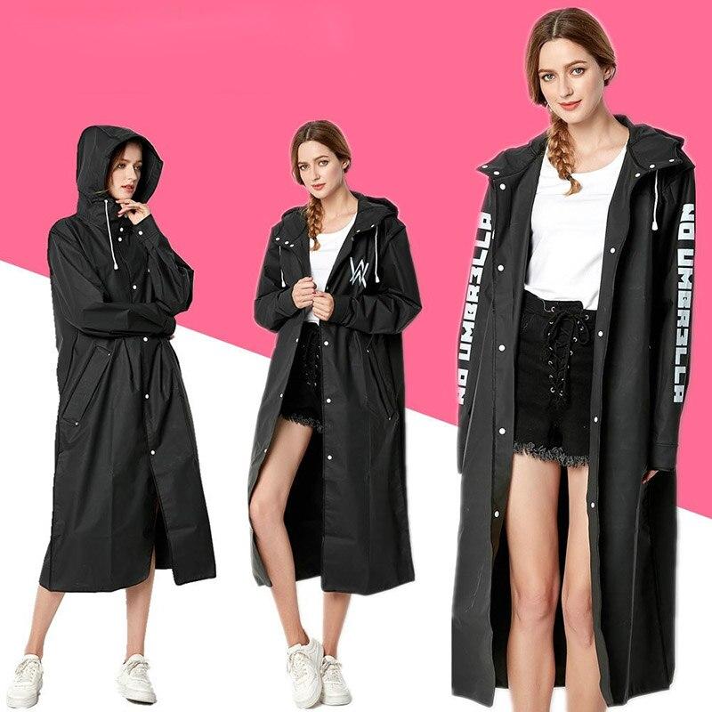 Stylish EVA Black Ladies Adult Raincoat Allen Walker Pattern Long Style Outdoor Woman Hiking Environment Poncho Raincoat