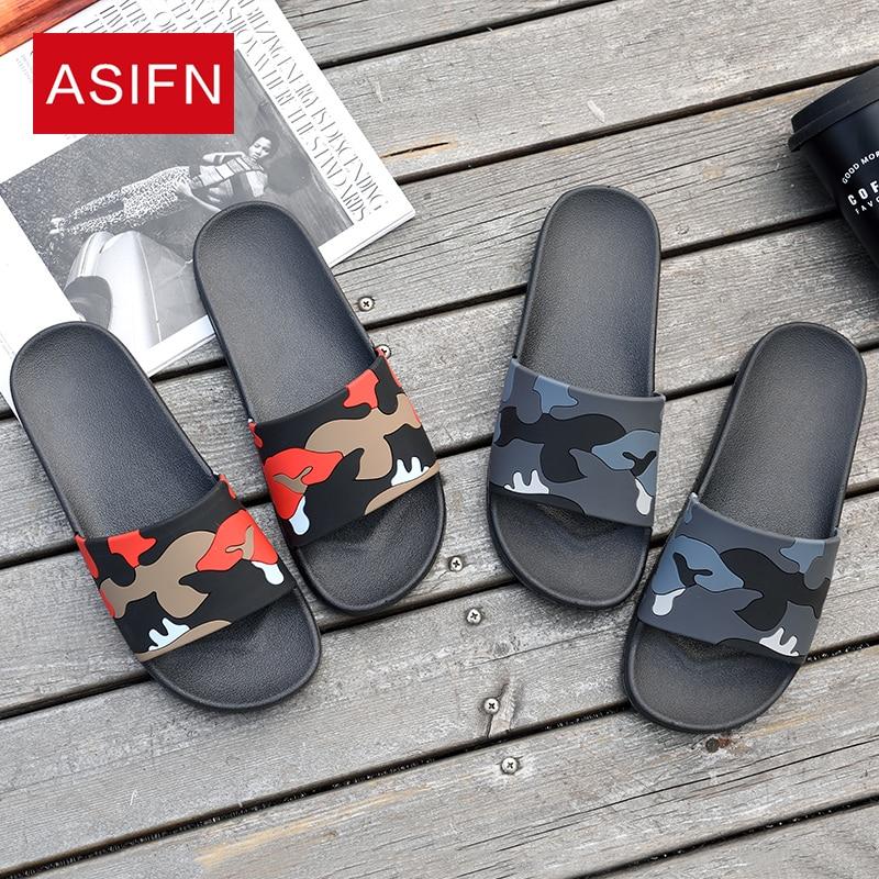 ASIFN Men's Slippers Flip Flops Camo Casual Slides Men Shoes Non-slip Beach Summer Sandals Male 4 Colors Zapatos Hombre