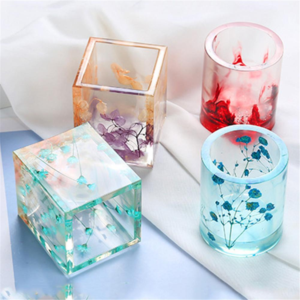Silicone Square Round Pen Holder Mould Nordic Style Geometric Epoxy Dry Flower Resin Concrete Candle Mold Decor Craft Ornament