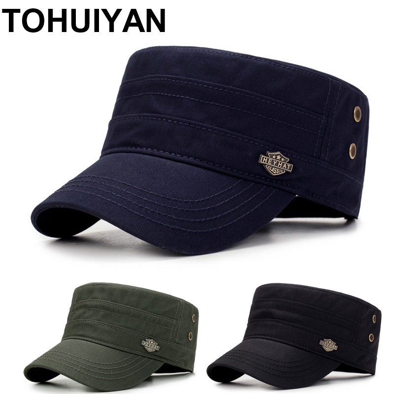 2021 Branded Men Military Cap Summer Autumn Casual Cadet Hat Washed Cotton Flat Top Caps Female Vintage Army Hats Bone Man Cap