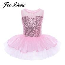 Dancer Dress Leotard-Ballet Gymnastic Ballerina Professional Girls Shiny Kids Princess