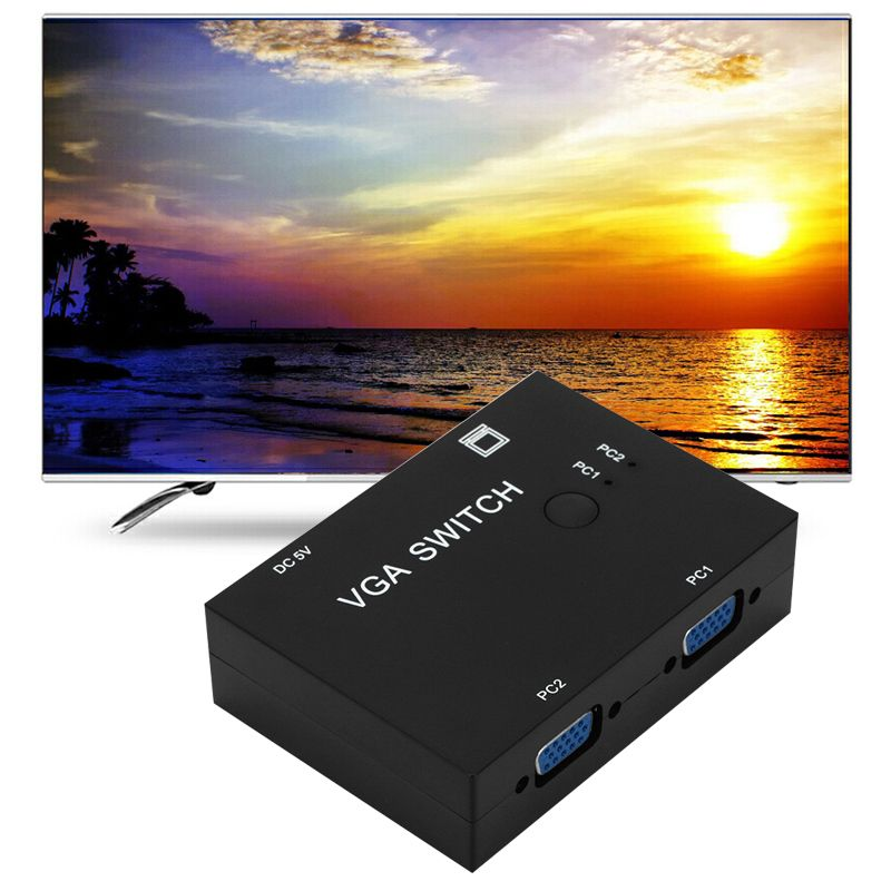Set-Top Box VGA Switch 2 In 1 Out 2 Port Splitter TV Projector PC Switches Computer For School Office Work Ornaments