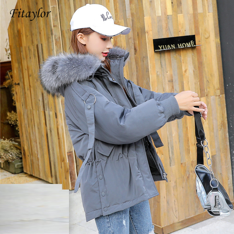 Fitaylor Winter Down Jackets Women Large Natural Raccoon Fur Collar Coat Mujer Hooded Parkas Female Sash Tie Up Short Outwear