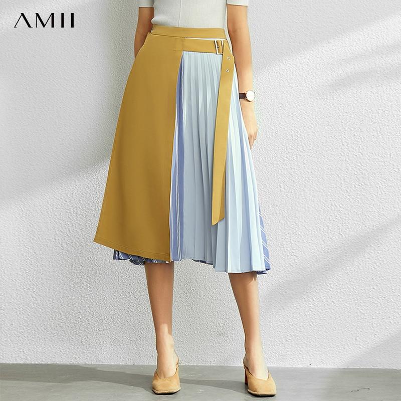 AMII Minimalism Fashion Splice Denim Skirt Spring Summer Women's Skirt High Waist Pleated Female Skirt 11970291