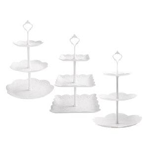 Juego de 3 bandejas redondas blancas de 3 niveles, cuadradas, soporte para tartas de flores, bandeja para postres, galletas, dulces, frutas y torres para fiestas de bodas decoración del hogar