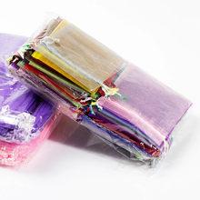 50/100 pièces 9x12cm Organza Cadeau de Stockage Sacs Sacs D'emballage De Bijoux De Fête De Mariage Faveur Bonbons Emballage Tulle Pochettes Sac Poches 5z