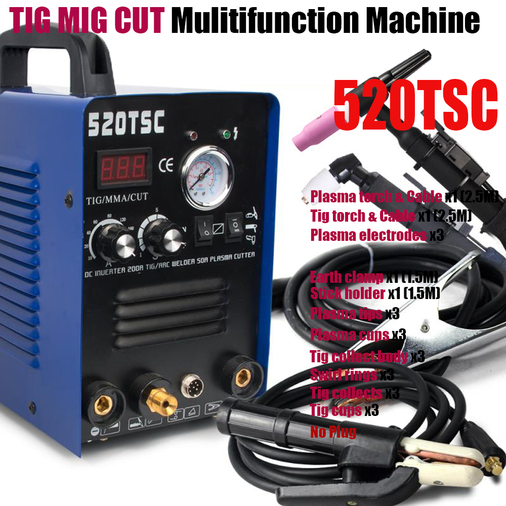 Plasmargon 3 in 1 Multi-Funktion 520TSC 50A Air Inverter Plasma Cutter 200A TIG/MMA Schweißer Maschine 110V/220V