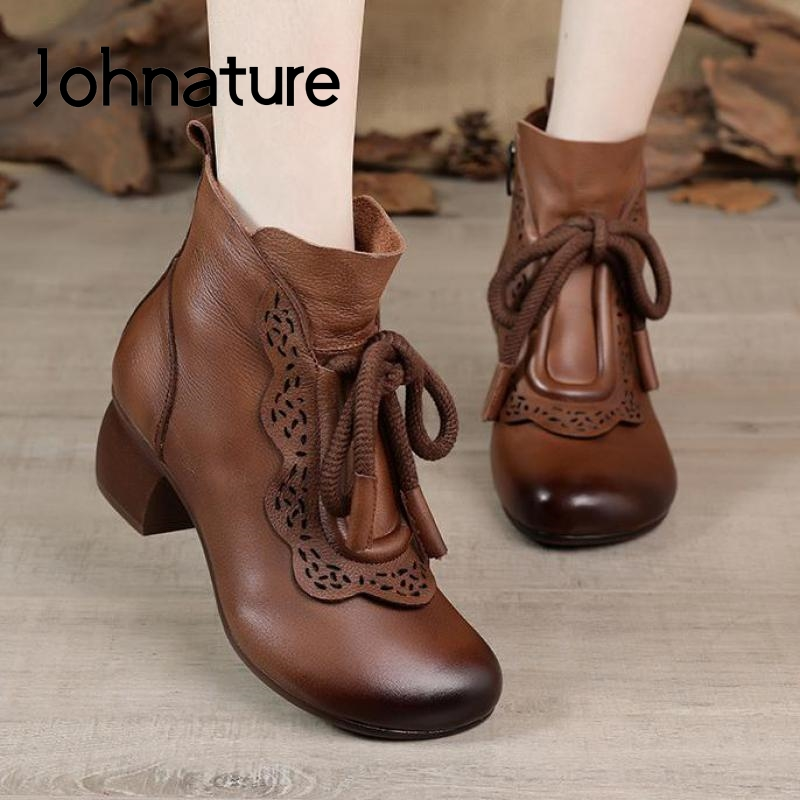 Johnature Retro Winter Shoes Women Boots Genuine Leather Zip Round Toe Handmade Concise Leisure Sewing Ankle Platform Boots