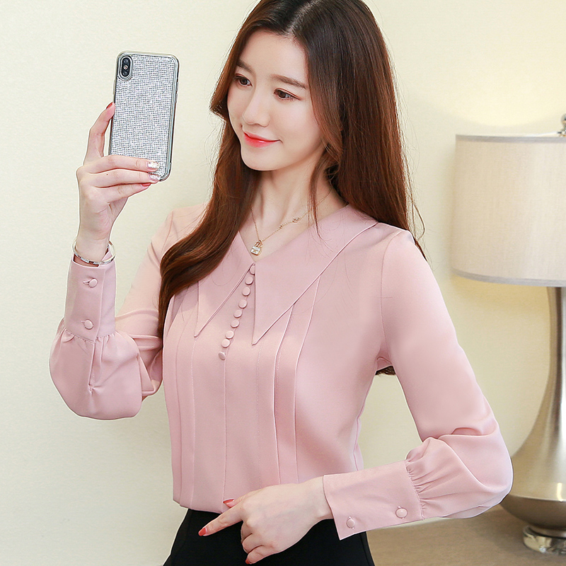 2019 New Fashion Women   Shirts   Lantern Sleeve Chiffon   Blouse     Shirt   Pink Red Apricot 7132