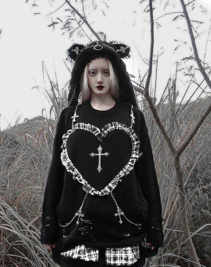 Рождественское платье для девочек Harajuku черного цвета в стиле «панк» с вышивкой