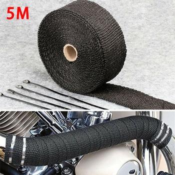 5M Roll Fiberglass Heat Shield Car Motorcycle Exhaust Manifold Heat Insulation Glass Fiber Thermal Wrap Tape Blacks +4 Ties Kit