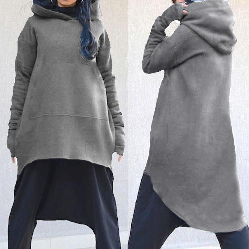 Harajuku Pullovers Celmia 2019 Women Hoodies Sweatshirts Autumn Winter Long Sleeve Asymmetrical Coats Hooded Long Tops Plus Size