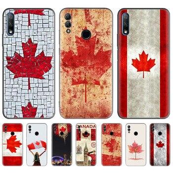Bandera canadiense para Huawei Y9s Honor 9X Pro 8X jugar 3 3e 20 10 Pro 20s 20i Y9 Y7 Y6 2019 negro del teléfono del TPU del Coque Cas