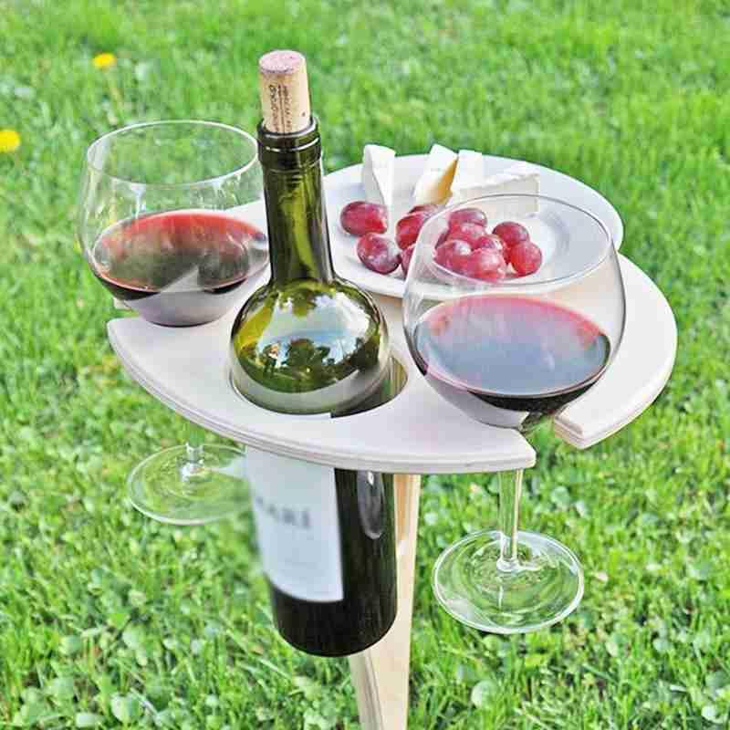 Outdoor Folding Wine Table Wine Glass Portable Wooden Picnic Rack Collapsible Foldable Round Desktop Mini Easy To Carry