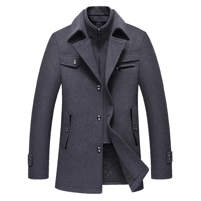 Fall And Winter 2019 Men's Long Coat Simple Atmosphere Mature Men's Coat Fit Wool Coat With High Cashmere Content Overcoat Mens