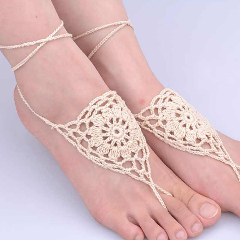 1 para/2 sztuk biały ślub panny młodej stóp biżuteria sandały boso impreza na plaży szydełka łańcuszek na kostkę
