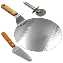 Stainless Steel Pizza Peel, 10 Inch Round Metal Pizza Peel with Wood Handle and Pizza Cutter Wheel & Pizza Shovel for Serving Fo pizza shovel pastry tools accessories pizza peel round stainless steel non stick pizza paddle spatula with oak wooden handle