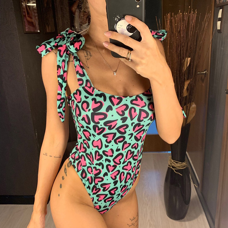 INGAGA Love Print One Piece Swimsuit Sexy Plunging Halter Swimwear Women Knotted Bathing Suit Women 2019 Pink Beach Wear