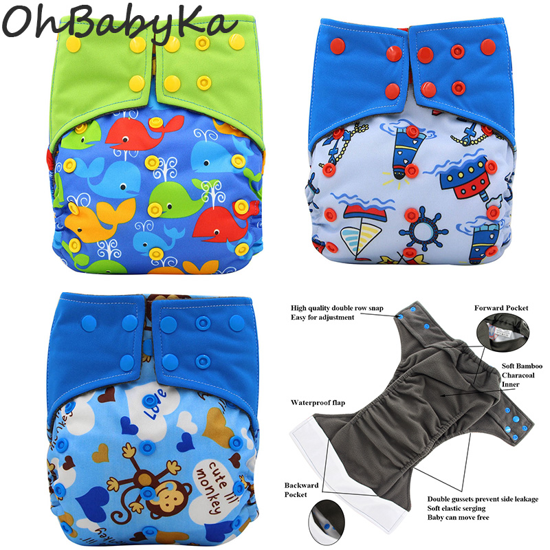 All-in-two AI2 Resuable Cloth Diaper Baby Nappies Adjustable Waterproof Diaper Cover Fralda De Pano Double Gussets Baby Diapers