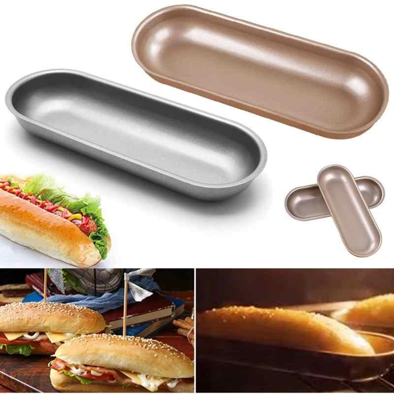 Khuôn làm bánh Ổ Bánh Mì Chảo hình bầu dục Bánh Mì Nướng Khuôn Làm Bánh Muffin Khuôn Thép Carbon Ổ Bánh Ngọt Nướng Máy Nướng DIY Không Dính dụng Cụ làm bánh