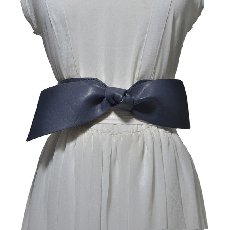 Women Bowknot Decoration Elastic Girdle Belt Wild Wide Imitation Leather Waist Belts -OPK
